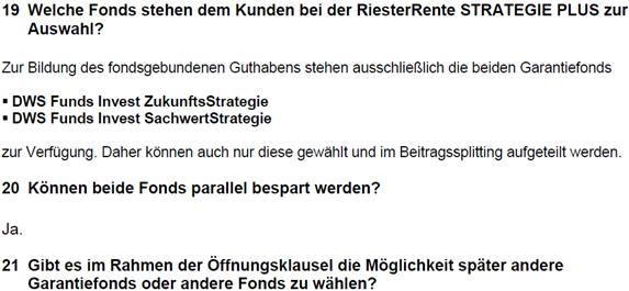 Fondsauswahl AachenMünchener Riester Rente