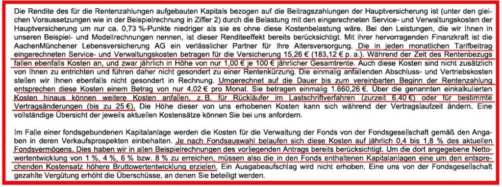 Kosten AachenMünchener Riester Rente